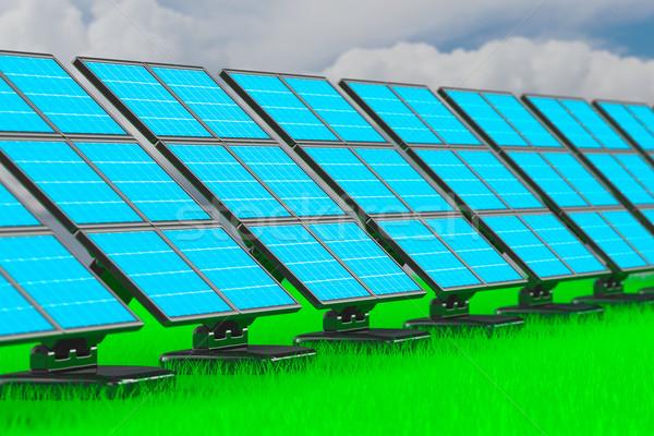 solar battery on white background. 3d image Stock photo © ISerg
