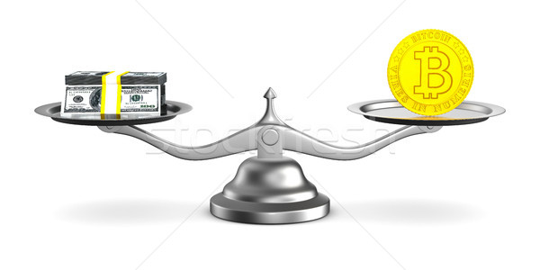 bitcoin and money on scale. Isolated 3D illustration Stock photo © ISerg