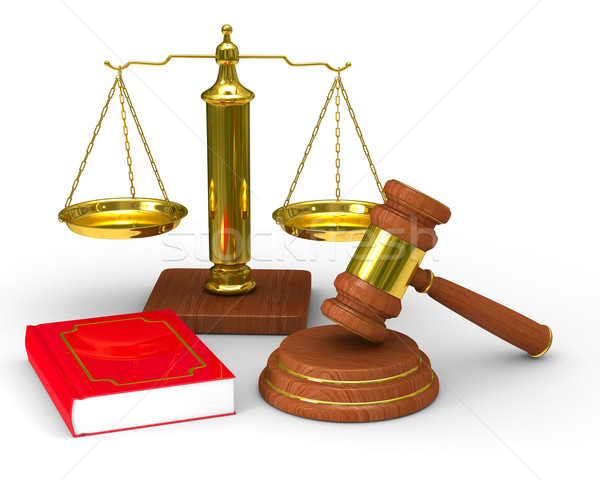 Scales justice and hammer on white background. Isolated 3D image Stock photo © ISerg