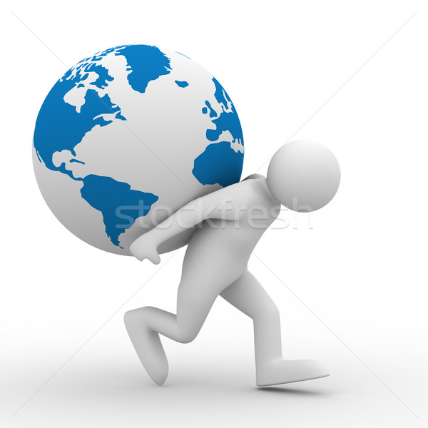 men carry globe on back. Isolated 3D image Stock photo © ISerg