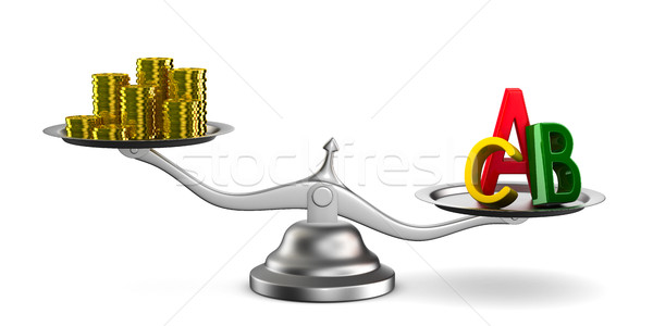 Money and letters on scales. Isolated 3D image Stock photo © ISerg