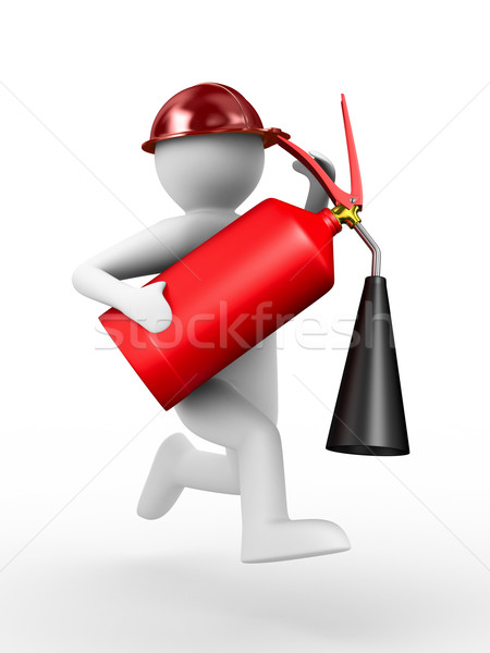 Stock photo: fireman on white background. Isolated 3D image
