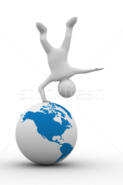 Man handstand on white background. Isolated 3D image Stock photo © ISerg