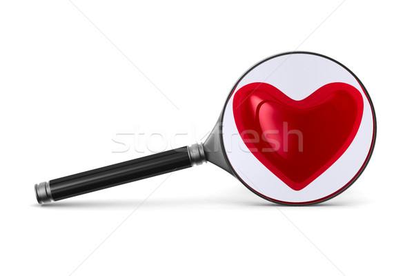 Magnifier and heart on white background. Isolated 3D image Stock photo © ISerg
