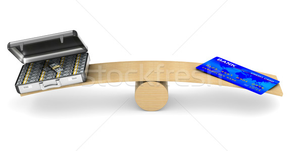 credit card and money on scale. Isolated 3D illustration Stock photo © ISerg