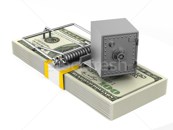 mousetrap and safe on white background. Isolated 3D illustration Stock photo © ISerg