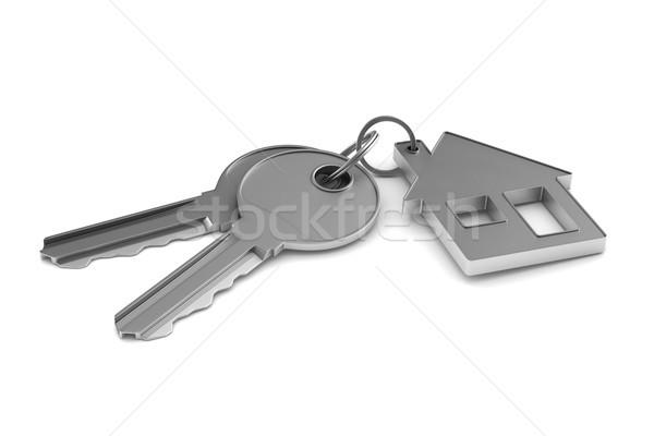 Two keys and trinket house on white background. isolated 3d illu Stock photo © ISerg