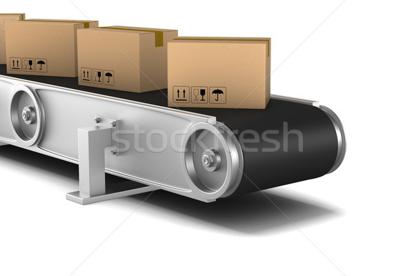 conveyor on white background. Isolated 3D illustration Stock photo © ISerg