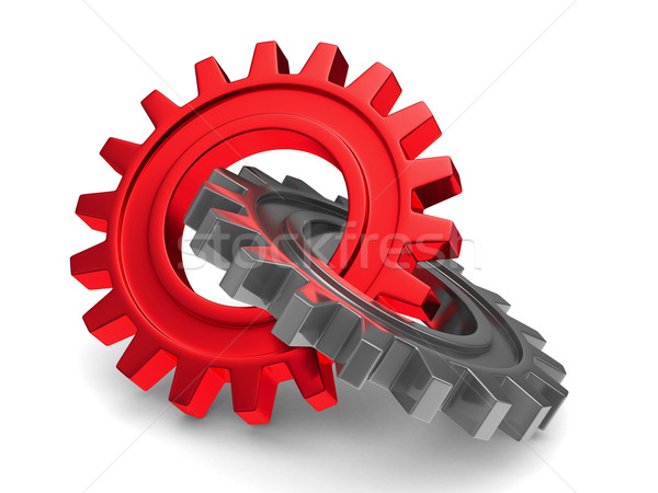 Two chrome gears on white background. Isolated 3D image Stock photo © ISerg