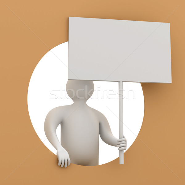 man holds the poster in a hand. 3D image Stock photo © ISerg
