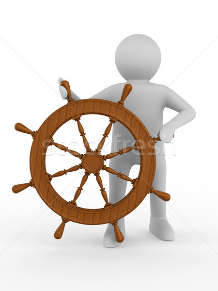 sea captain with steering wheel on white background. Isolated 3D Stock photo © ISerg