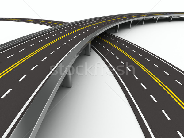 asphalted road on white. Isolated 3D image Stock photo © ISerg