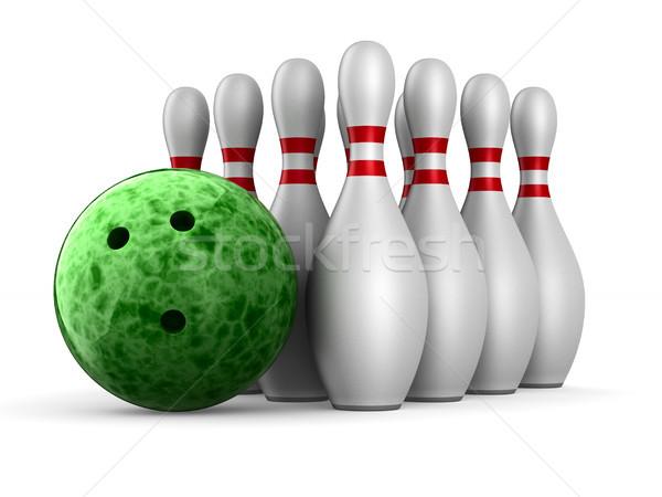Palla da bowling bianco isolato 3D illustrazione 3d sport Foto d'archivio © ISerg