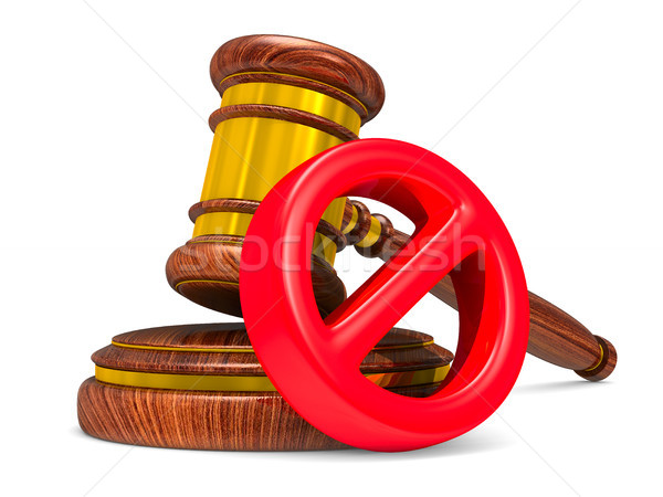 wooden gavel and sign forbidden on white background. Isolated 3D Stock photo © ISerg