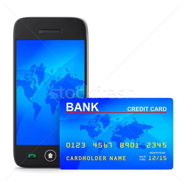 Foto stock: Telefone · cartão · de · crédito · branco · isolado · 3D · imagem
