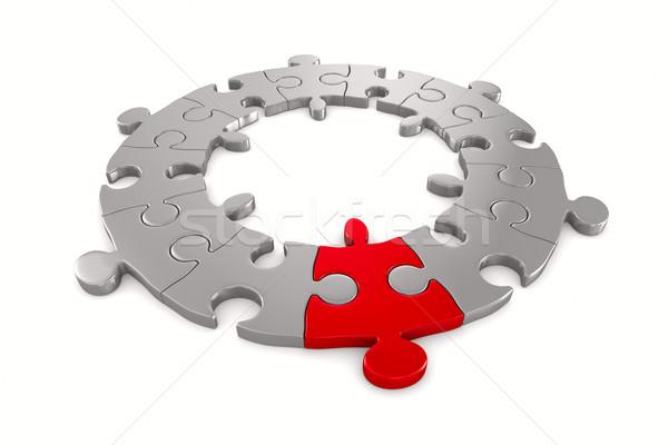 Puzzle fehér izolált 3D kép játék Stock fotó © ISerg