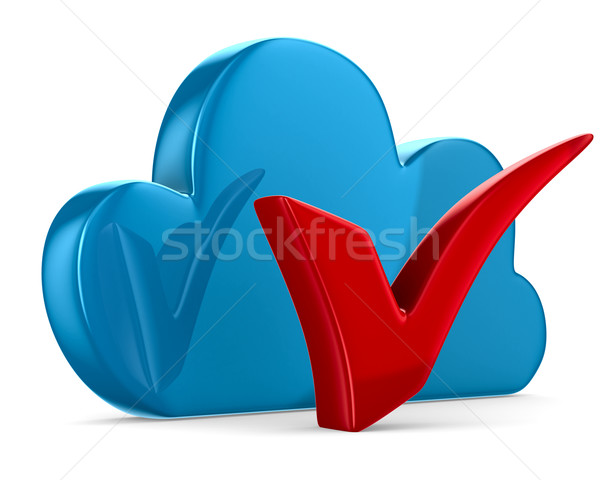 Cloud and checkmark on white background. Isolated 3D image Stock photo © ISerg