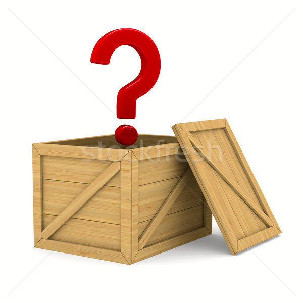 Stock photo: empty wooden box and question. Isolated 3D image