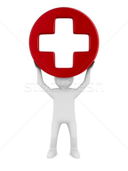 Stock photo: Symbol plus on white background. Isolated 3D image