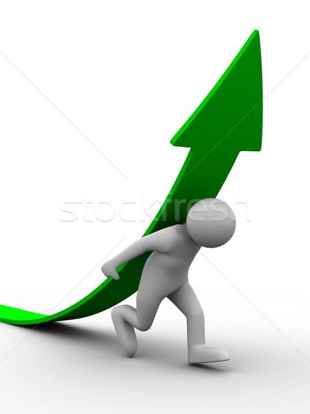Férfi mászik zöld nyíl izolált 3D Stock fotó © ISerg