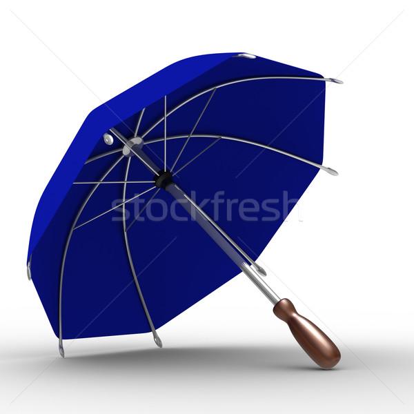 Stock fotó: Kék · esernyő · fehér · izolált · 3D · kép