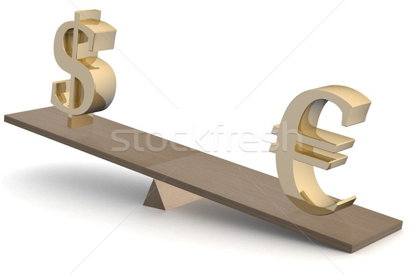 Dollar and euro on scales. 3D image.  Stock photo © ISerg