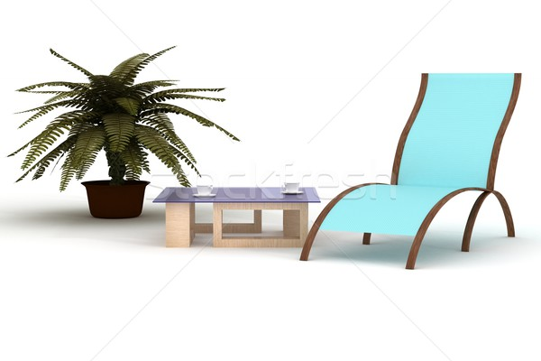 deckchairs on a white background. 3D image. Stock photo © ISerg