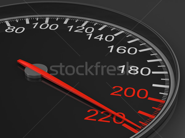 speedometer on black background. 3D image Stock photo © ISerg