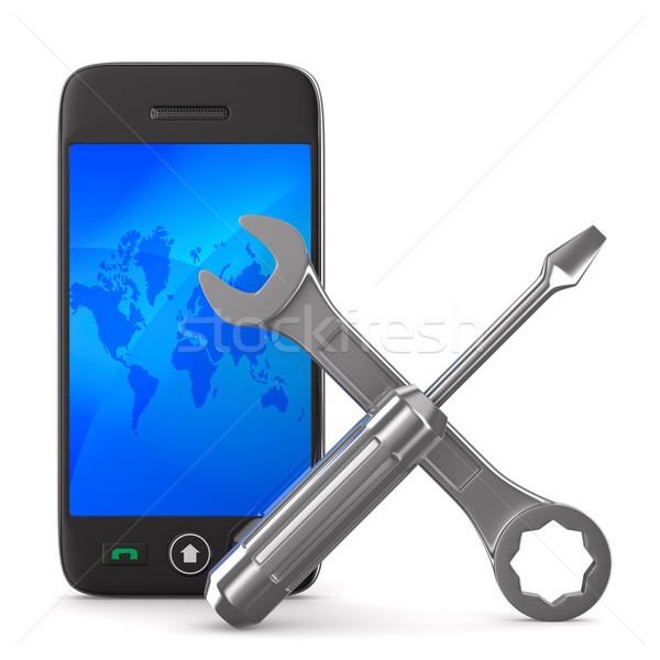 Phone repair on white background. Isolated 3D image Stock photo © ISerg