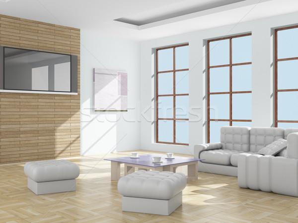Foto stock: Interior · sala · de · estar · 3D · imagem · luz · projeto