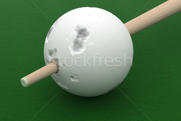 Old billiard ball punched cue. 3D image. Stock photo © ISerg