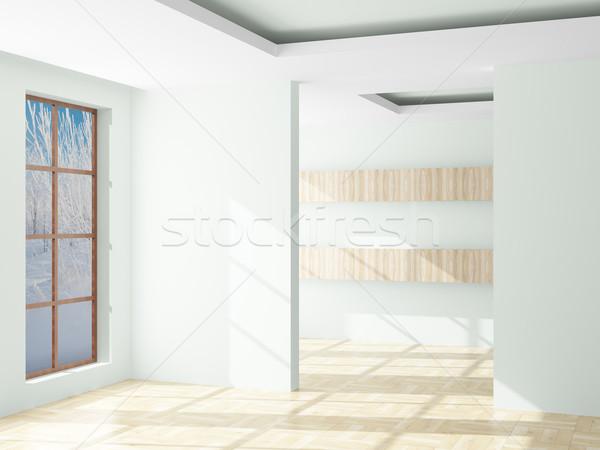 пустой комнате пейзаж за открытых окна 3D Сток-фото © ISerg