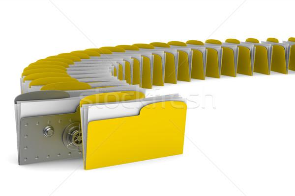 コンピュータ フォルダ ロック 白 孤立した 3D ストックフォト © ISerg