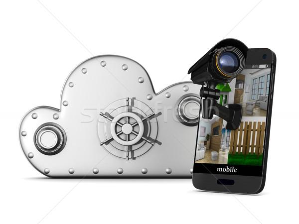 Stockfoto: Telefoon · camera · witte · geïsoleerd · 3d · illustration · telefoon