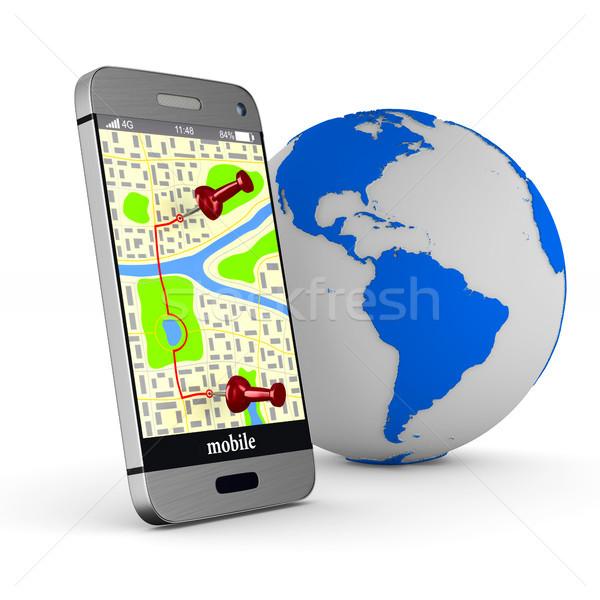 Navigasyon telefon yalıtılmış 3d illustration Internet teknoloji Stok fotoğraf © ISerg