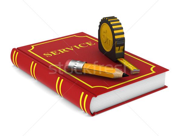 Geel meetlint potlood Rood boek witte Stockfoto © ISerg
