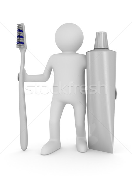 Man with tooth brush. Isolated 3D image Stock photo © ISerg