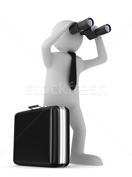 man with binocular on white background. Isolated 3d image Stock photo © ISerg