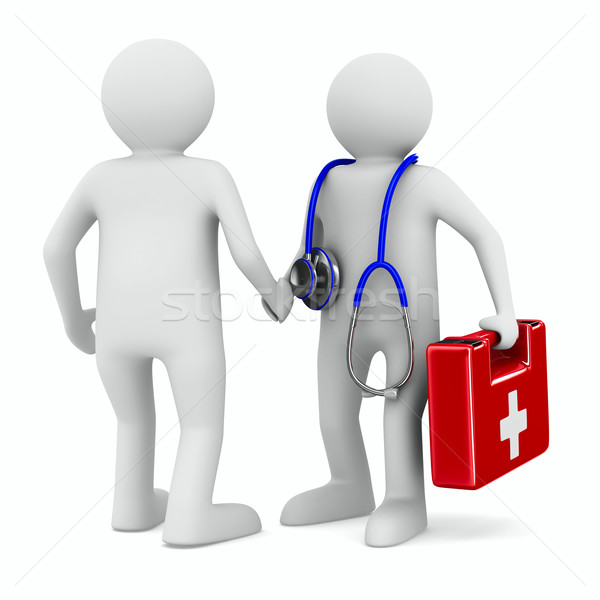 doctor and patient on white background. Isolated 3D image Stock photo © ISerg