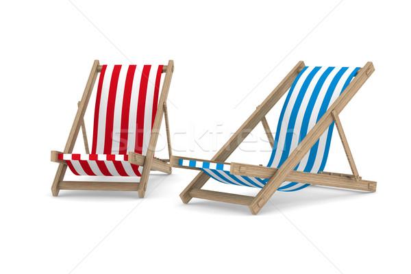 Twee ligstoel witte geïsoleerd 3D afbeelding Stockfoto © ISerg