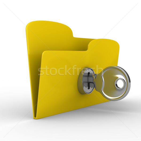 Foto stock: Amarelo · computador · dobrador · chave · isolado · 3D