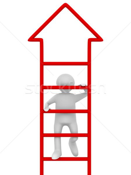Man naar boven witte geïsoleerd 3D afbeelding Stockfoto © ISerg