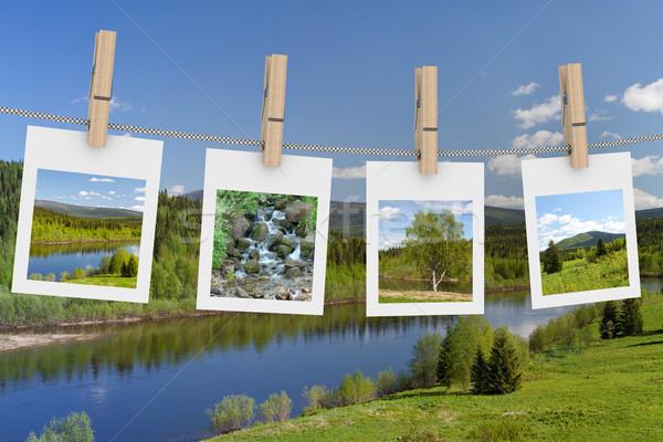 Landschap foto's opknoping waslijn 3D afbeelding Stockfoto © ISerg