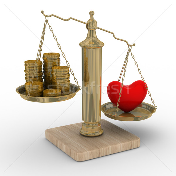 Heart and money for scales. Isolated 3D image. Stock photo © ISerg
