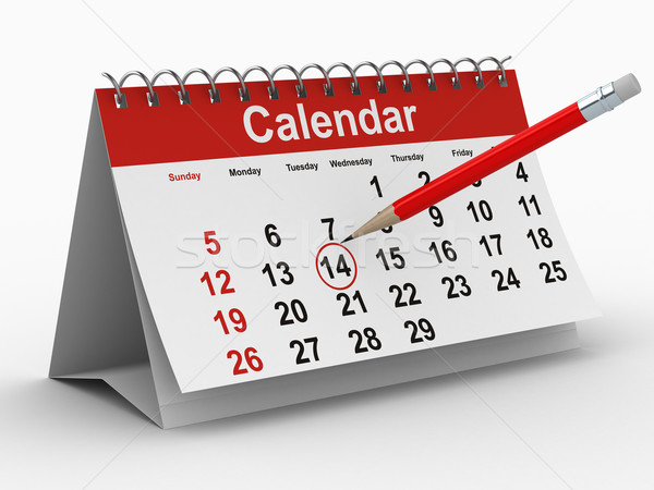 Stock photo: calendar on white background. Isolated 3D image