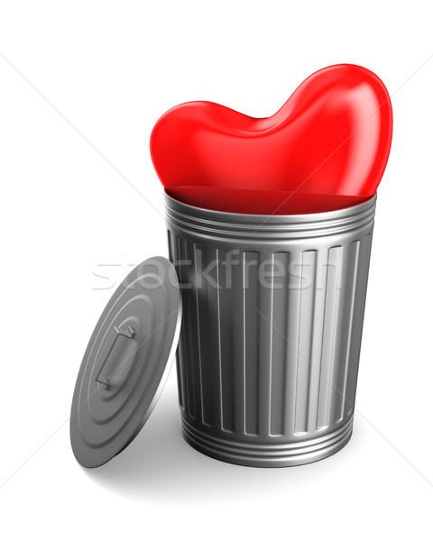 heart into garbage basket on white background. Isolated 3D illus Stock photo © ISerg