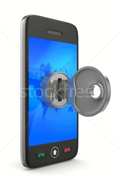 phone with key on white background. Isolated 3D image Stock photo © ISerg