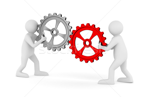 two man with gears. Isolated 3D image Stock photo © ISerg