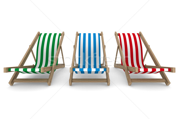 Three deckchair on white background. Isolated 3D image Stock photo © ISerg