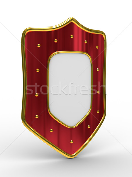 red shield on white background. isolated 3D image Stock photo © ISerg